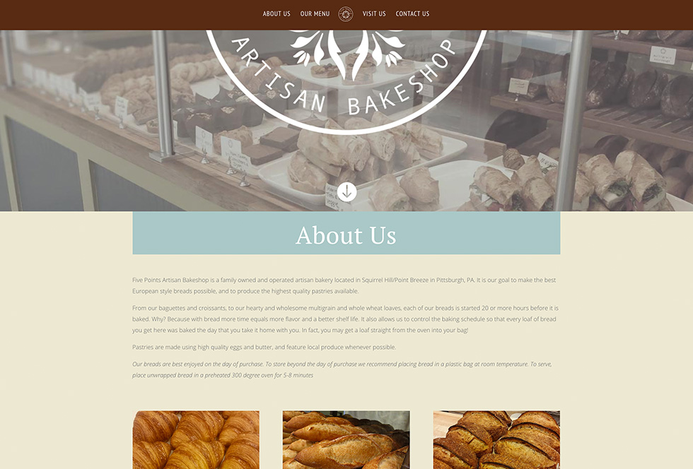 Five Points Artisan Bakeshop website design